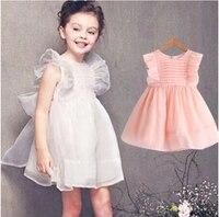 2 5Y 2015 Summer Fashion Girls Dress Gauze Big Bowknot Baby Sundress Beautiful Fairy Kids Princess
