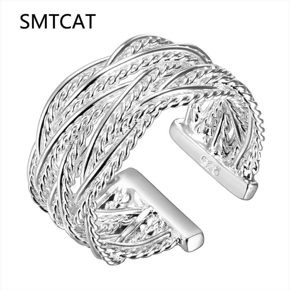Hot sell Best gift Wholesale jewelry 925 stamped silver color Weave web net open ring ,Small reticulocyte finger ring Adjustable