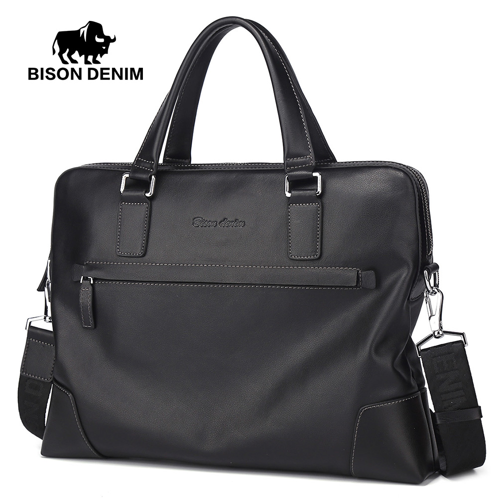 BISON DENIM New Handbag Male Genuine Leather Men Shoulder Bag Big Capacity Business Briefcase Men Laptop Messenger Bag N2633 ...
