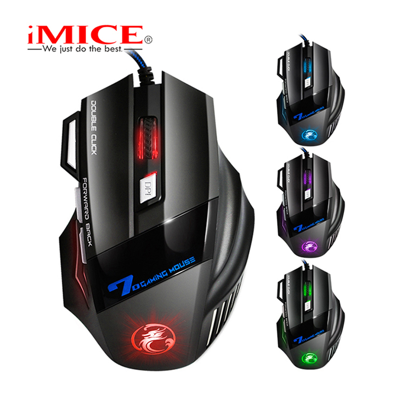 Nya iMice 7 Knappar 5500 DPI LED Optisk Gaming Mouse USB-kablade professionella spelmus för Desktop PC Pro Gamer