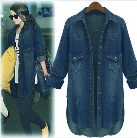 Мода Большой Размер Весна Ковбой оказать джокер свободные пальто Европейский женщины Повседневная С Длинным Рукавом Джинсовой рубашки Размер: XL-5XL