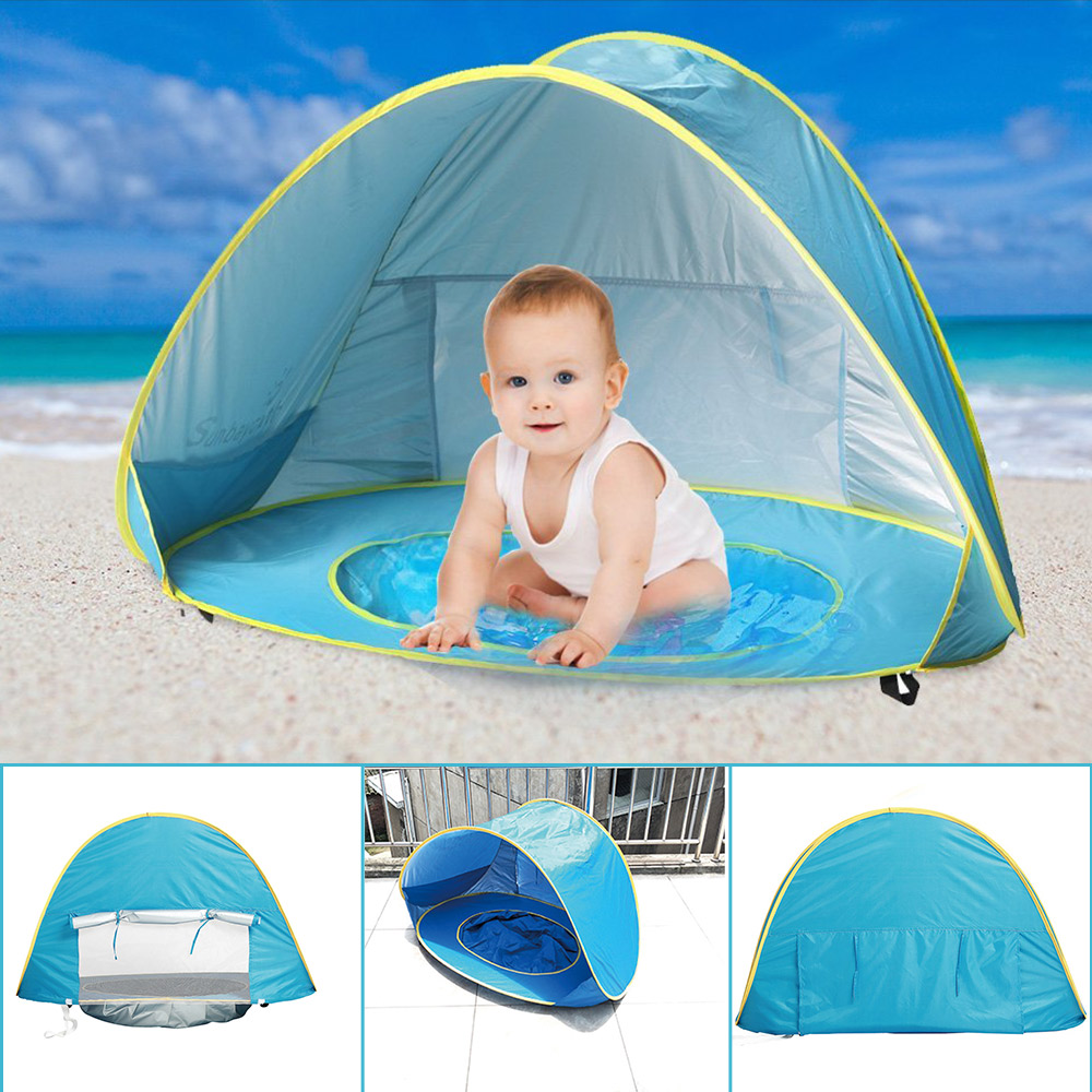 Kinderzelt Spielzeug Baby Strand Zelt Uv-schutz Sun Shelter Pool mit Bälle Infant Zelte Kleines Haus Bällebad Spielen Zelte spielzeug