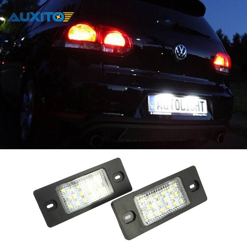 2X No Error 18LED SMD3528 Car LED License Plate Lights  For Audi A4 A5 S8 Porsche Ford Skoda VW Wolkswagen Passat Golf 5 Toyota 0001108175 0986018340 458211 new starter for audi a4 a6 quattro volkswagen passat 2 8 3 0 4 2 l