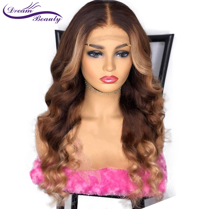 Ombre Highlight Lace Front Human Hair Wigs With Baby Hair Pre Plucked Wavy Highlight Brazilian Remy