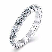 475923dfc40d Mujeres anillo de compromiso 3mm ronda CZ 925 estampado plateado 5A Zircon  piedra anillo de eternidad bandas Nueva joyería para .