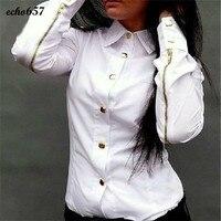 New Hot Women Shirt Echo657 Fashion Women Chiffon Rivet Shirt Long Sleeve Button Down Casual Tops