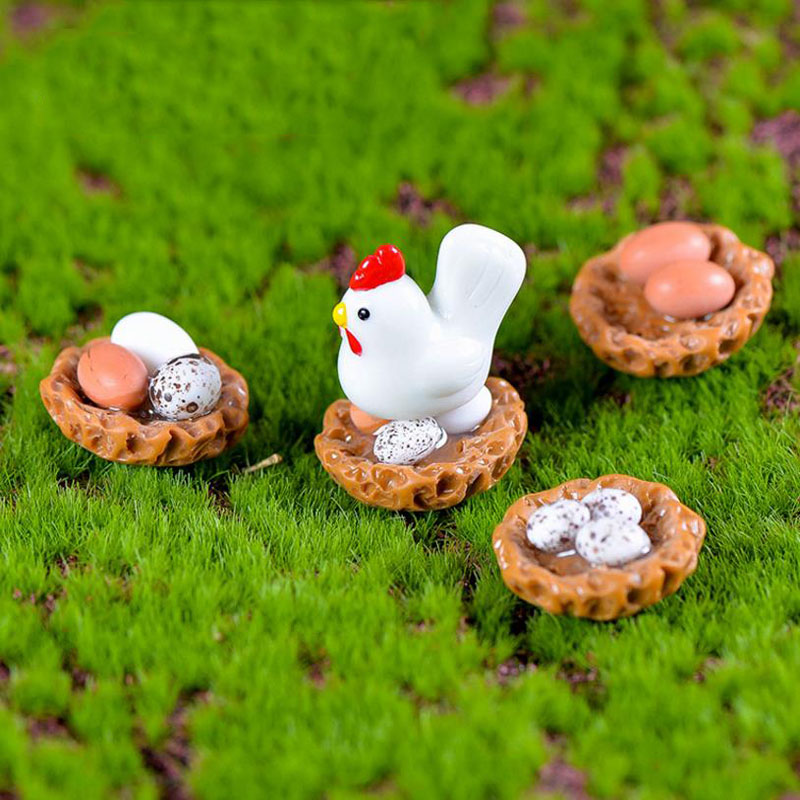 1pc funny Cute Hen lays eggs Action Figure Animal chicken Toys Collection Model resin Craft Ornament image