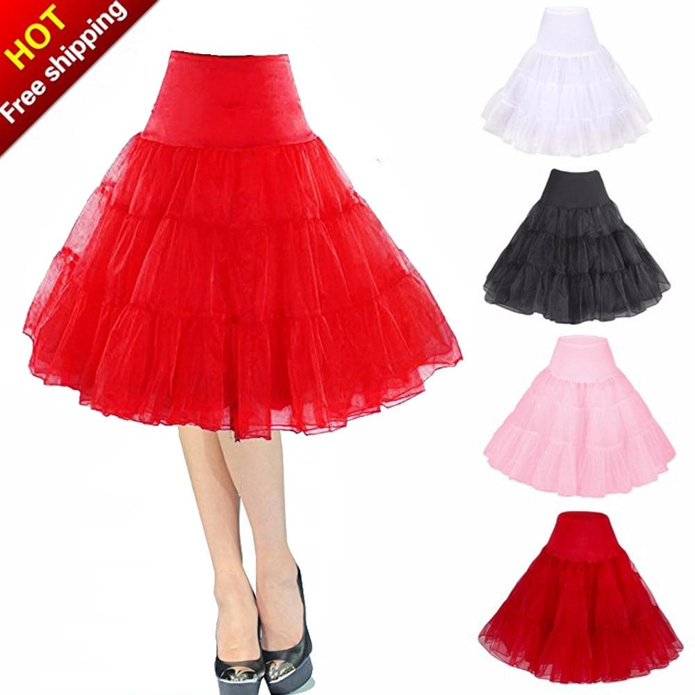Womens High Waist Tutu Tulle Skirt Retro Vintage Red Short Petticoat Ruffle Skirts Crinoline Cosplay Underskirt Jupon Rockabilly