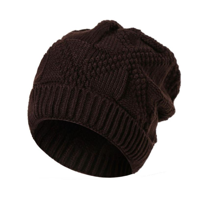 MUQGEW 2017Men Fashion Knit Baggy Beanie Cap Hat Winter Keep Warm Hat Solid Ski Slouchy Chic Cap protetor de orelha inverno#WMEW