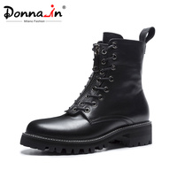 Donna in Zipper Platform Winter Boots Women Genuine Leather Fashion Punk Gothic Shoes Lace Up White Black Ankle Boots For Ladies