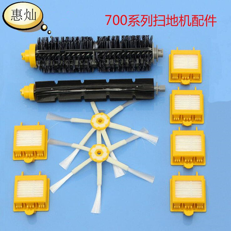 10pcs/lot Robot Vacuum Cleaner Replacement Parts 2 Brush + 6 Filter + 2 Side Brush Suit For 700/760/770/780/790 bristle brush flexible beater brush fit for irobot roomba 500 600 700 series 550 650 660 760 770 780 790 vacuum cleaner parts