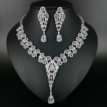 NEW FASHION vintage palance crystal zircon necklace earring wedding bride banquet formal dress popular jewelry set free shipping image