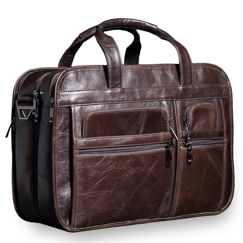 Briefcase Vintage Leather Men's Bag Large-capacity Cow Leather Briefcase Zipper Multi-function Handbag