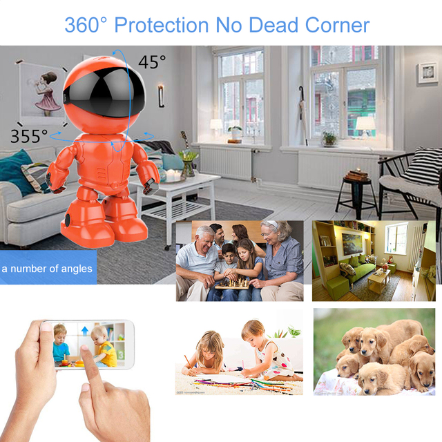 Robot SPY Camera With Night Vision Wireless WI-FI Video Quality 1080P (Full-HD), Lots Of Space 64GB Space, Email Photos to You, Two Way Audio Network Home Security Baby Monitor Pet Dog Camera