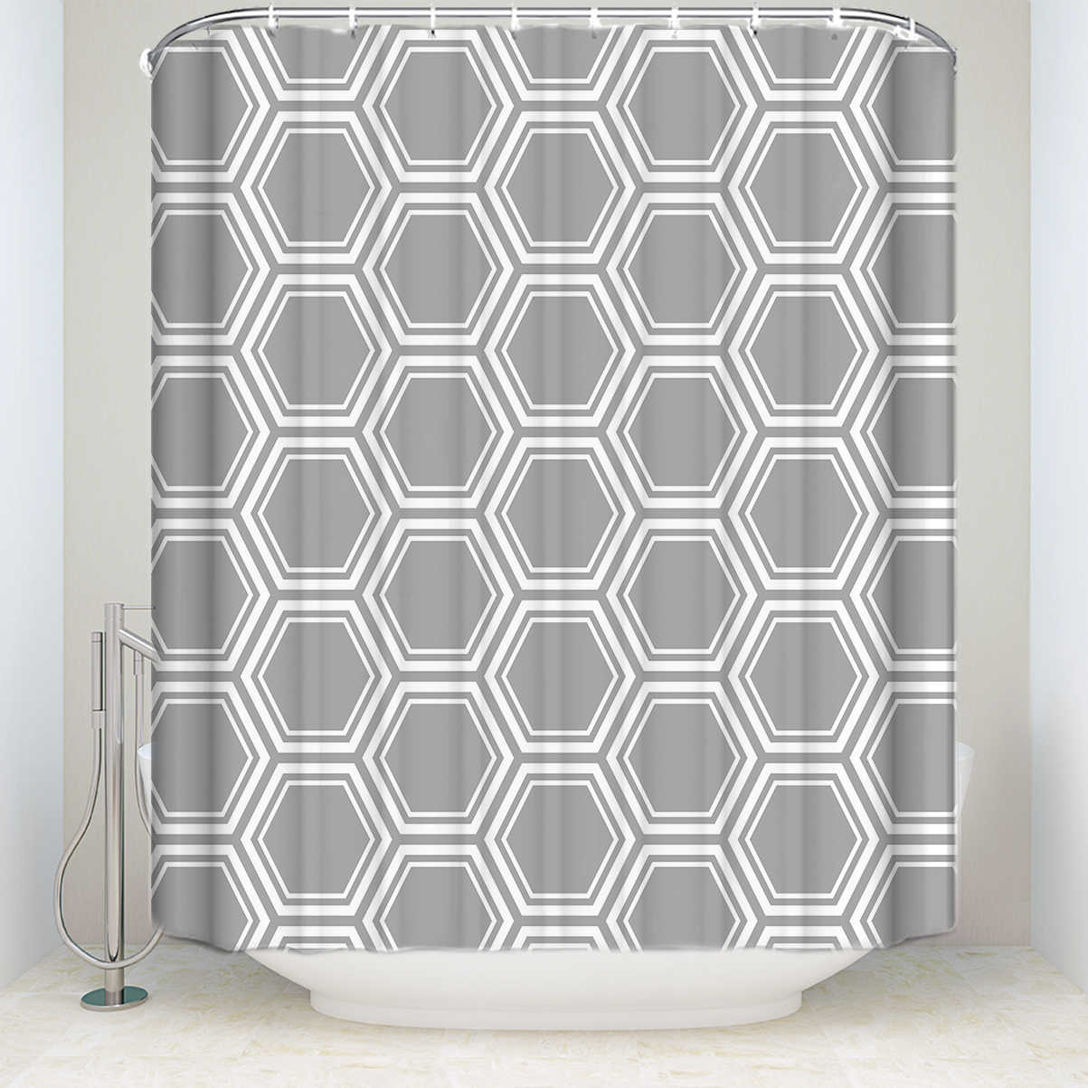 New Waterproof Geometric Shower Curtain With Hooks Polyester Fabric Moroccan Style Gray Bathroom Curtains For Home Decorations Shower Curtains Aliexpress