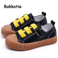 Bakkotie 2019 otoño niños zapatos casuales nuevas niñas moda cuero zapatillas nuevos niños negro transpirable marca suave zapatos