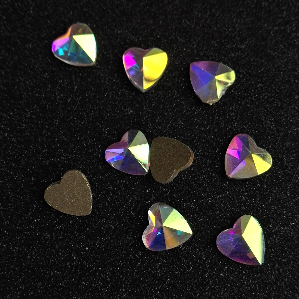 288Pcs 4,6,8mm 2204 Crystal AB Heart Rhinestone Crystal Wheel Nail Art Tips Decoration DIY Manicure Accessories Craft