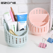 EZONE 4 Grid Pen Holder PVC Hollow Cylinder Pen Storage Box Pencil Brush Pot Makeup Brush Container Home Office Desktop Supply