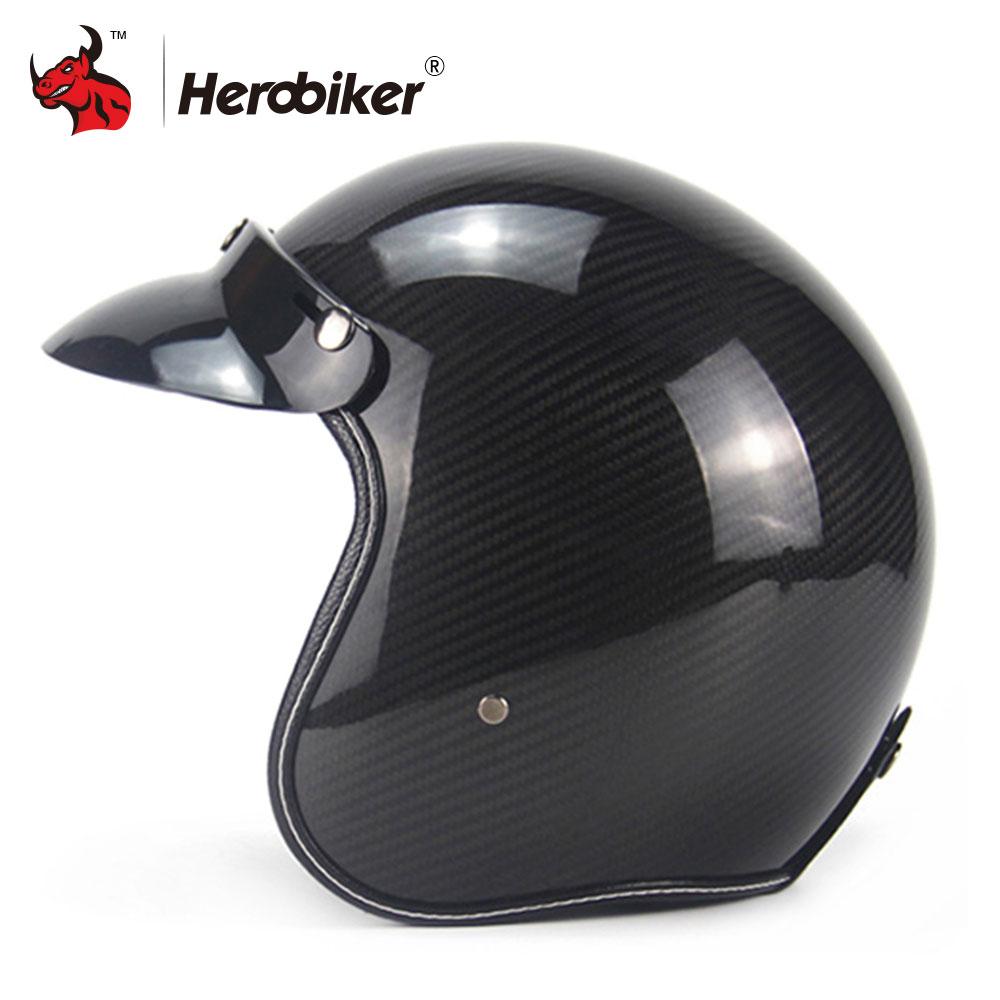 New Carbon Fiber Motorcycle Helmet Vintage Retro Motorbike Cruiser Scooter Chopper Biker 3 4 Open Face