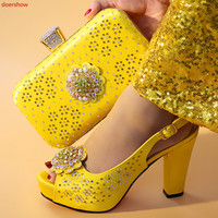 doershow yellow Shoes and Bag Set for Women Summer African Style italian Shoes and Bag Set for party Custom products!HXX1 17