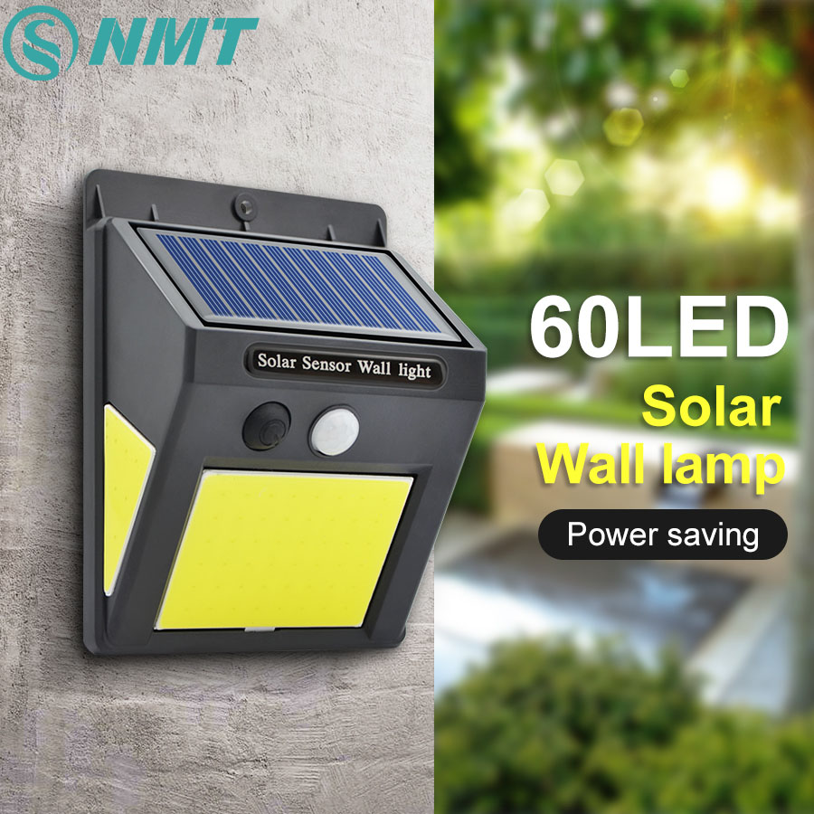 48/60 COB LED Solar Light PIR Motion Sensor Wall Lamp Human Body Infrared Outdoor Waterproof Home Garden Street Security Lights
