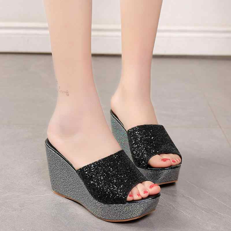 245e95605 ... Summer Women Casual High Heel Wedge Skid Slippers Sandals Silver Bling  Flip Flops Shoes ladies wedge ...