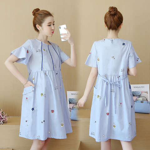 versao coreana do vestido do verao das mulheres gravidas vestidos de maternidade branco medio comprimento