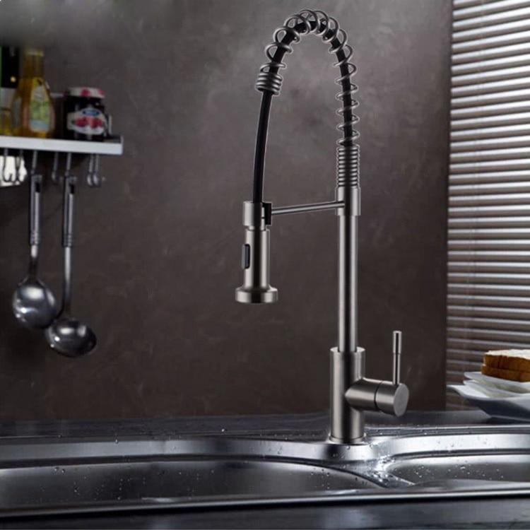 Multi funzione in acciaio inox rubinetto della cucina SUS304 acciaio inox rubinetto della cucina estraibile in acciaio inox rubinetto primavera