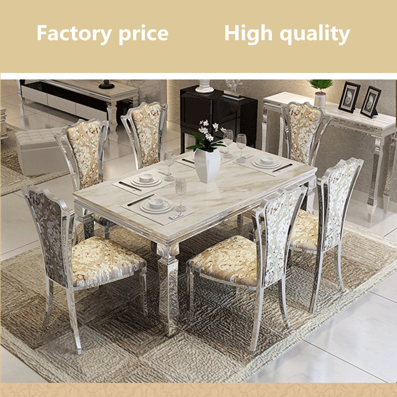 Contemporary Modern Dining Set Stainless Steel Marble Top Table Luxury Room Price