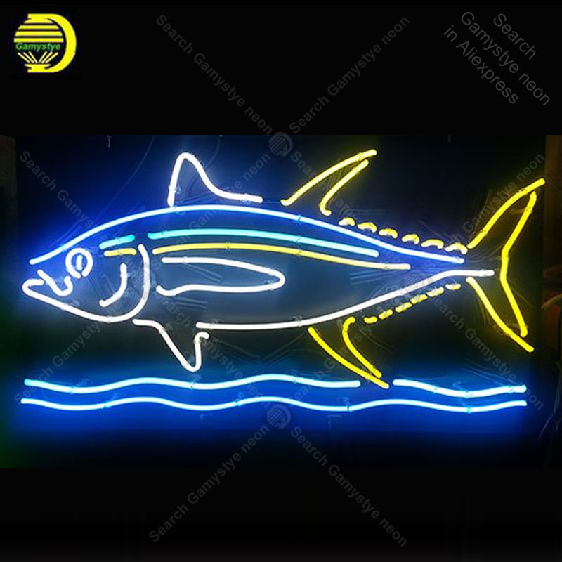 Neon Sign  Personalized Fish Neon Signs Real Glass Tube Neon Bulb Signboard Decorate Food Restourant Handcrafted Lamps Light Up