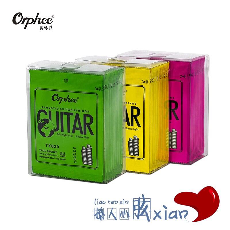 20 Sets of Orphee TX620/630/640 Acoustic Guitar Strings Hexagonal Core+8% Nickel+75/25 Phosphor Bronze Wound 1st-6th Strings
