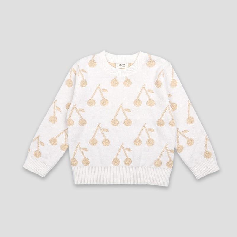 Bebé Niños Suéteres otoño invierno brillante lindo cerezo de punto diseño de moda infantil suéter prendas de vestir exteriores