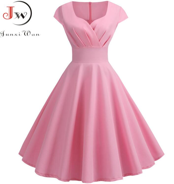 Pink Summer Dress Women 2019 V Neck Big Swing Vintage Dress Robe Femme Elegant Retro pin up Party Office Midi Dresses Plus Size 5