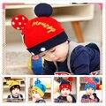 Moda Bebê Chapéu Do Inverno com Orelhas Bonito Chapéu Do Bebê de Crochê Sólida Mickey Bebê Chapéu Do Inverno Chapéu Gorro de Malha Bonés Meninas e menino
