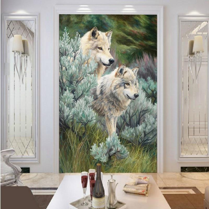 Custom photo wallpaper custom Jungle wolf Oil painting wallpaper restaurant Living room entrance wallpaper