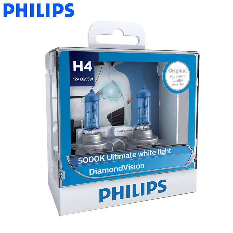 Philips H1 H4 H7 H8 HB3 HB4 9003 9005 9006 12V Diamond Vision 5000K Car Halogen Headlight Fog Lamp Super Xenon White Light, Pair