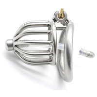 Stainless steel short cock cage male chastity device metal cockring bird lock sex toys for men penis cage with urethral catheter