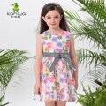 2016 Del Verano Sin Mangas Niño Adolescente Niñas Florales Vestidos de Algodón Arco de La Cinta de Una Línea de ropa de Niños Ropa Niños