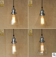 60W RH Retro Loft Edison Industrial Lamp Vintage Pendant Light With Glass Lampshade Lamparas Colgantes