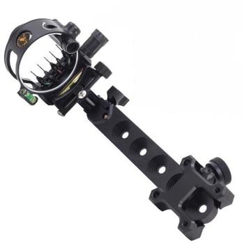 5 Pins Compound Bow Sight 0.019 Optical Fiber Retinal Sight 23cm CNC Aluminum Horizontal Vertical Adjustment Bow Sight Shooting