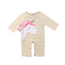 New Fashion Baby Girl Romper Unicorn Newborn Clothes Girls Striped Long Sleeve Romper Jumpsuit Baby Rompers Infant Clothes 0-18M(China)