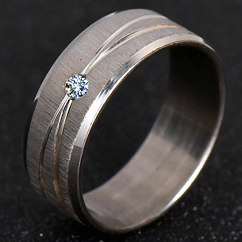 2019 Rings For Men &Women  Stainless Steel Crystal Flat Ring  Silver Color Metal Wire-Drawn Layout Ring Wedding Gift Jewelry