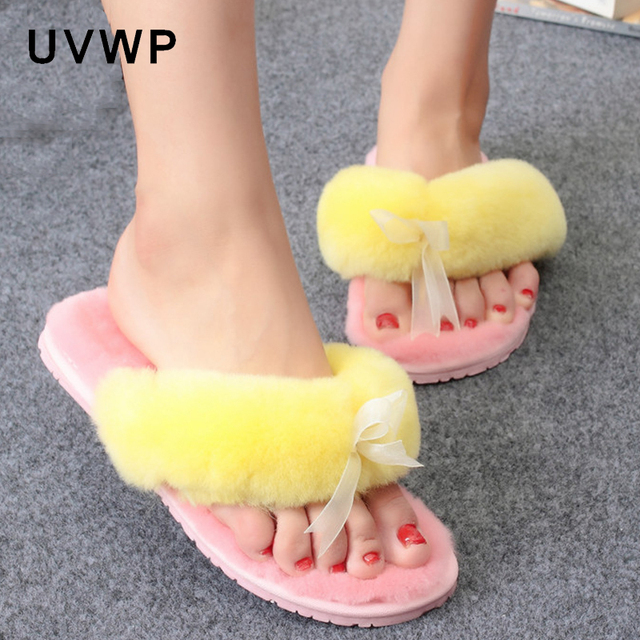 Natural Sheepskin Home Slippers Fashion Winter Women Indoor Slippers Fur Slippers Warm Wool Flip Flops Slipper Lady Home Shoes