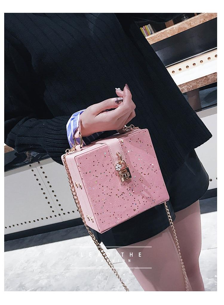 Bolsa Fashion Transversal Box Bag Glitter
