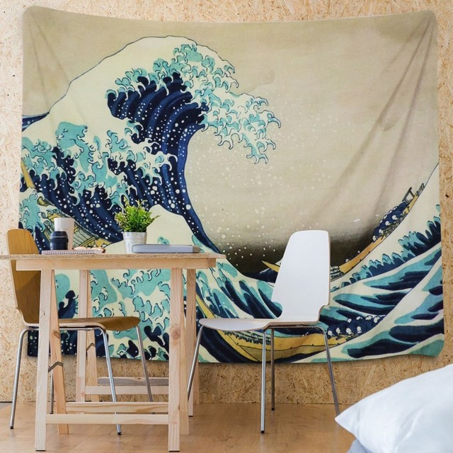 Japanese Style Great Wave Wall Tapestry 4