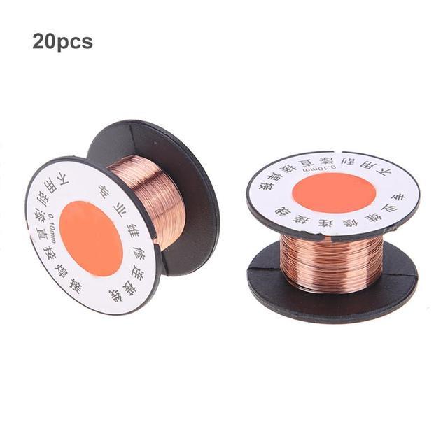 20pcs/set 10m 0.1mm Thin Enameled Wire Welding Fly Line Maintenance ...