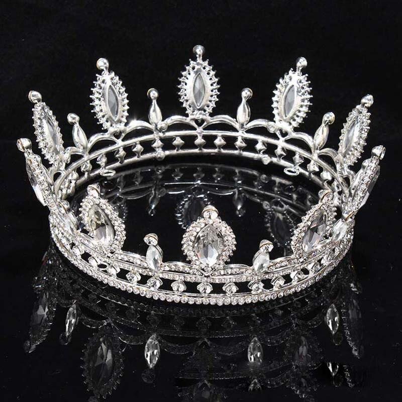 New Big European Royal Crown Golden Rhinestone Imitation Tiara Super Large Crown Wedding Hair Accessories Crown T-082