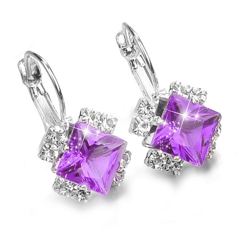 Женские квадратные серьги-подвески, серебристые, фиолетовые, красные, синие, черные серьги со стразами и австрийским кристаллом, свадебные ...