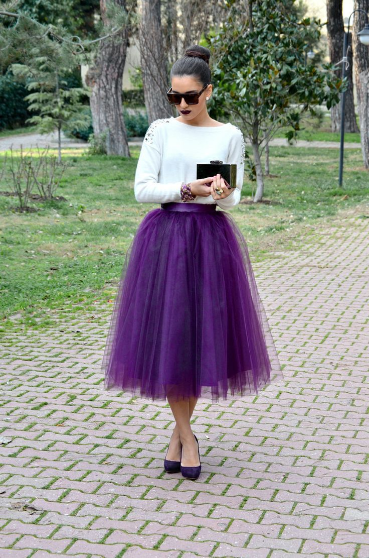 2015 Custom Made Purple Women Tulle Skirt Puffy Women Fashion ...