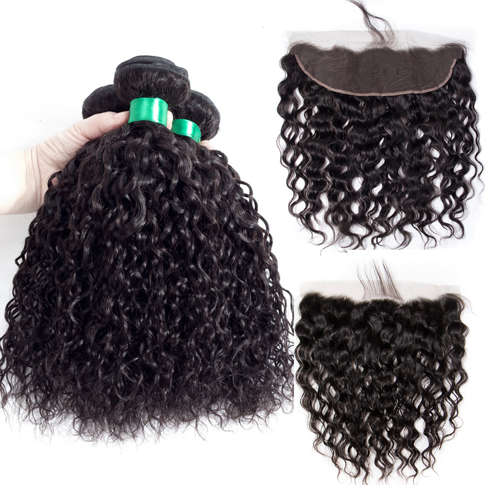Lace Frontal With Bundles Indian Hair Weave 3 Bundles With Closure Human Hair Water Wave Bundles
